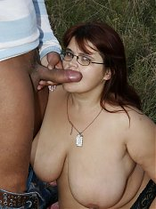Big chunky mama gets fucked real hard in an open field