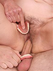 Grandma Irene removes her dentures to give her stud a blowjob and gets her old pussy extremely fucked live
