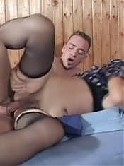 Nasty grandma Erin gets her titties groped and her cunt pounded hard by her hottie live