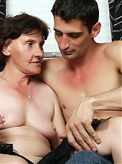 Sexy grandma Stephanie gives her man a blowjob and later gets her old twat fucked hard