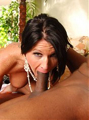Beautiful MILF with big boobs Kendra Secrets deep throating and riding a black man pole