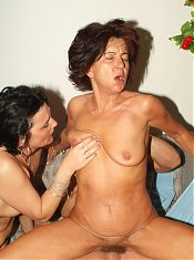 Agnes and Marsha are experienced and outrageously horny mature women sharing a dick on webcam