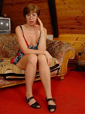 Shy granny Rosamund loosens up and enjoys hot sex in the attic with a younger guy live