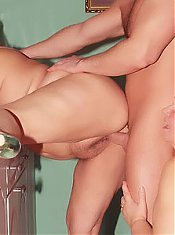 Anna and Yolanda are fat mature housewives spreading their pussies to take turns on a big cock
